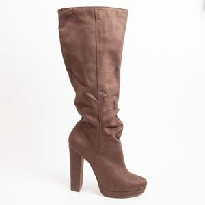 Michael Antonio Faux Suede Knee High Boots